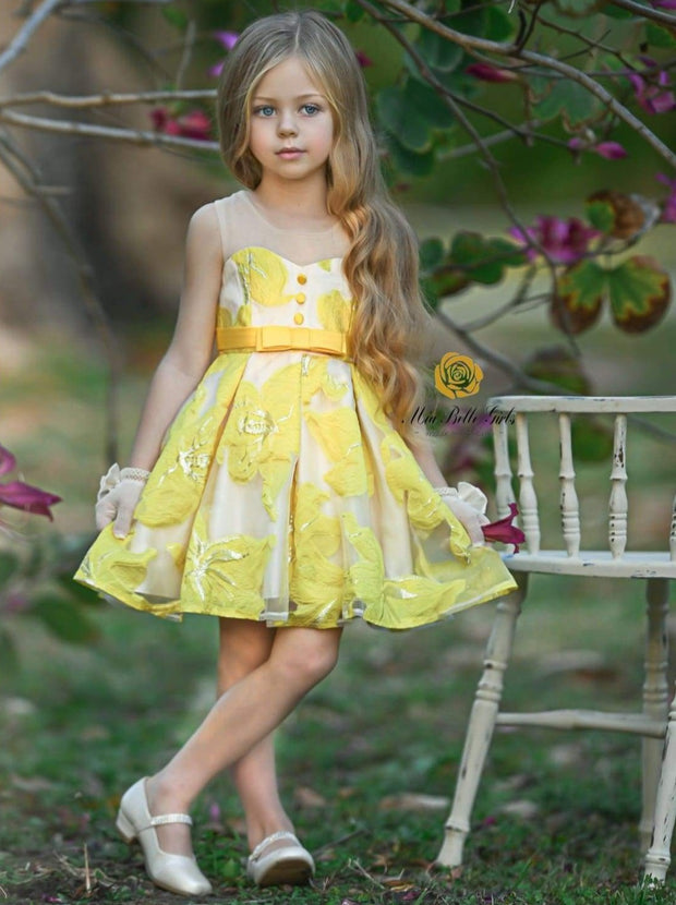 Girls Sleeveless Floral Embroidered Pleated Special Occasion Dress - Yellow / 3T - Girls Spring Dressy Dress