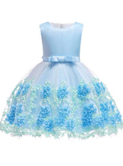 Girls Sleeveless Floral Embroidered Tulle Special Occasion Dress - Blue / 2T - Girls Spring Dressy Dress