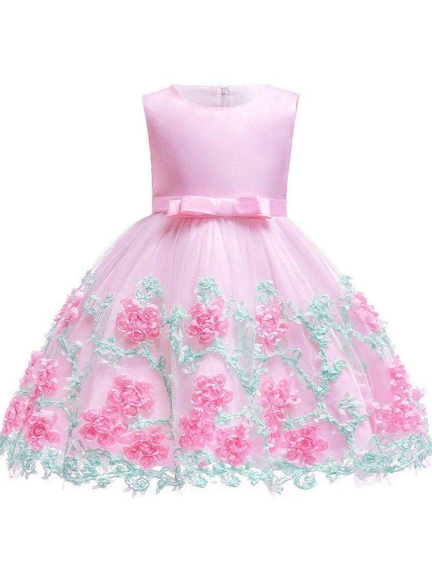 Girls Sleeveless Floral Embroidered Tulle Special Occasion Dress - Pink / 2T - Girls Spring Dressy Dress