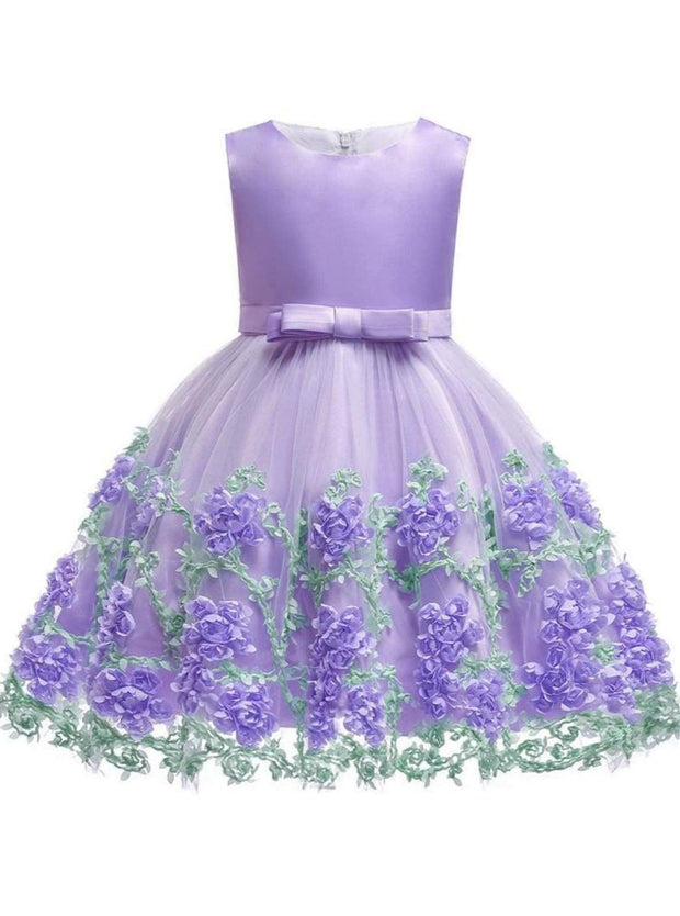 Girls Sleeveless Floral Embroidered Tulle Special Occasion Dress - Purple / 2T - Girls Spring Dressy Dress