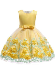 Girls Sleeveless Floral Embroidered Tulle Special Occasion Dress - Yellow / 2T - Girls Spring Dressy Dress