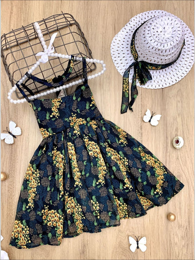 Girls Sleeveless Floral Print A-Line Dress with Matching Hat - Black / 4T - Girls Spring Casual Dress