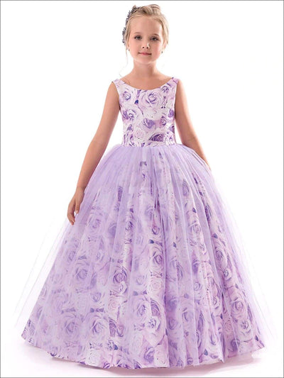 Girls Sleeveless Floral Print Floor Length Special Occasion Dress - Purple / 6Y - Girls Spring Dressy Dress