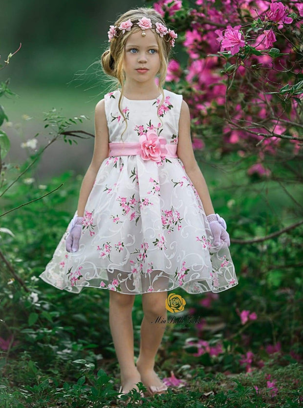 Girls Sleeveless Floral Print Special Occasion Party Dress with Flower Sash - Girls Spring Dressy Dress