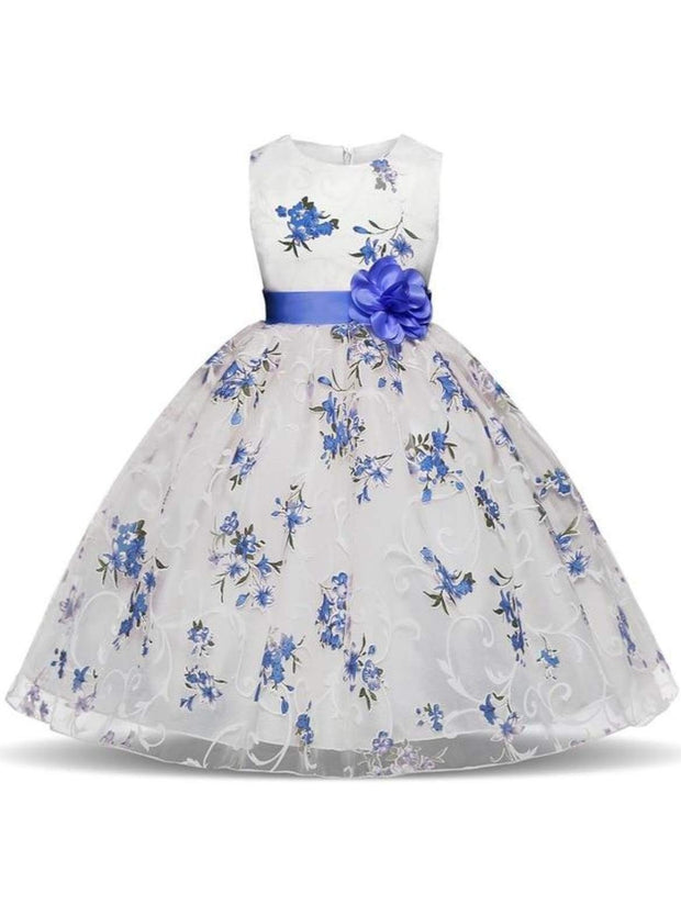 Girls Sleeveless Floral Print Special Occasion Party Dress with Flower Sash - Blue / 3T - Girls Spring Dressy Dress