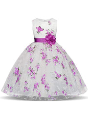 Girls Sleeveless Floral Print Special Occasion Party Dress with Flower Sash - Purple / 3T - Girls Spring Dressy Dress