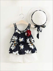 Girls Sleeveless Floral Print Tunic & White Shorts Set with Matching Sun Hat - Blue / 2T - Casual Spring Set