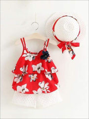 Girls Sleeveless Floral Print Tunic & White Shorts Set with Matching Sun Hat - Red / 2T - Casual Spring Set