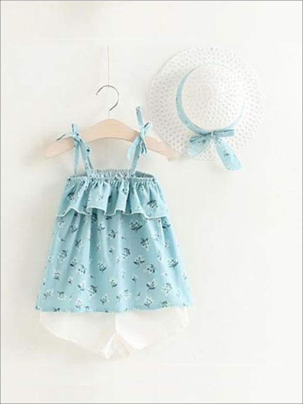 Girls Sleeveless Floral Print Tunic & White Shorts Set with Matching Sun Hat - Sky Blue / 2T - Casual Spring Set