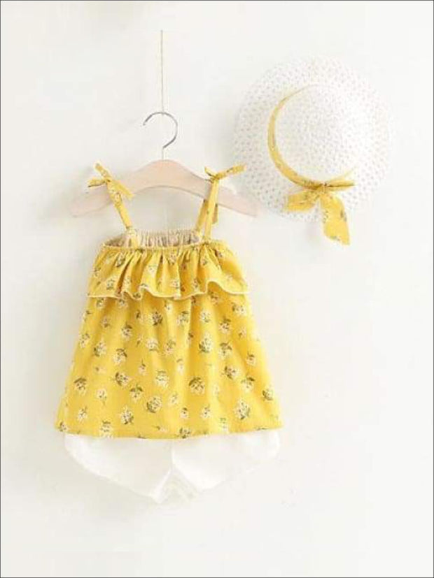 Girls Sleeveless Floral Print Tunic & White Shorts Set with Matching Sun Hat - Yellow / 2T - Casual Spring Set