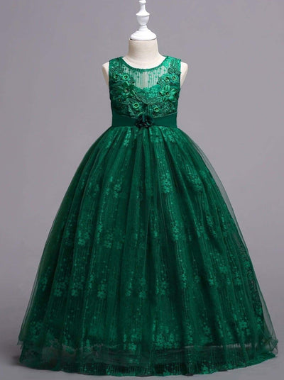 Girls Sleeveless Flower Applique Floor Length Pageant Special Occasion Dress - Green / 4T/5Y - Girls Fall Dressy Dress