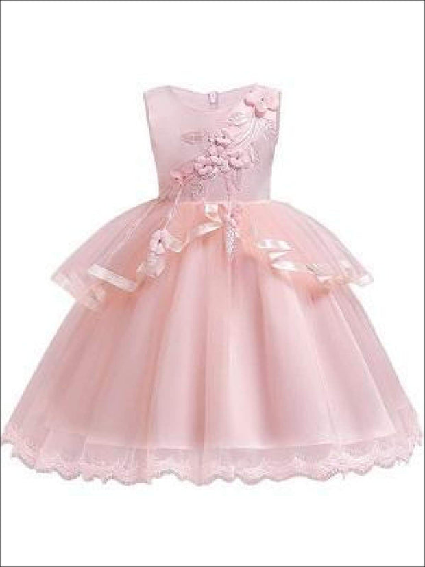 Girls Sleeveless Flower Applique Tiered Ruffle Special Occasion Dress - Girls Fall Dressy Dresses