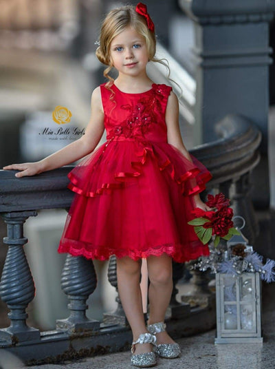 Girls Sleeveless Flower Applique Tiered Ruffle Special Occasion Dress - RED / 3T - Girls Fall Dressy Dresses