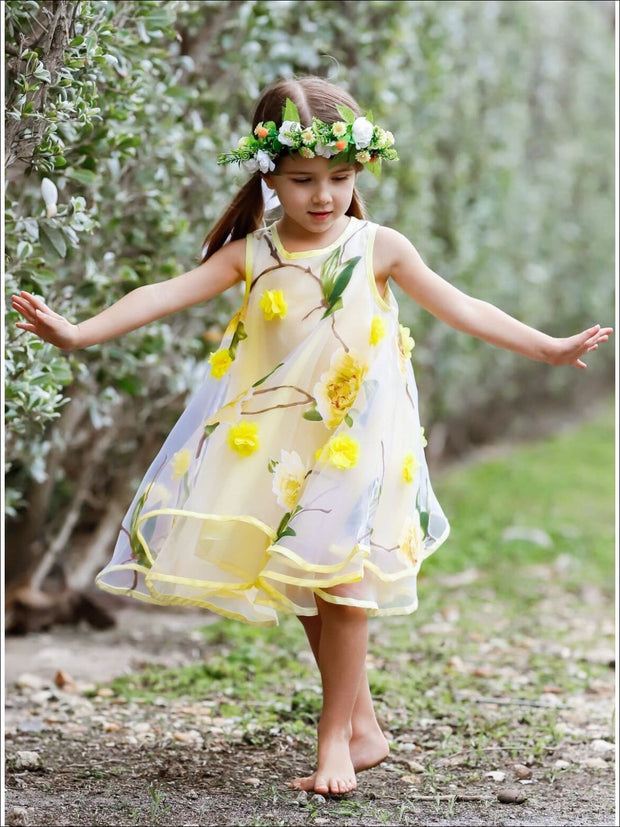 Girls Sleeveless Flower Mesh Lace Dress - Girls Spring Dressy Dress