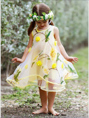 Girls Sleeveless Flower Mesh Lace Dress - Yellow / 4T/5Y - Girls Spring Dressy Dress