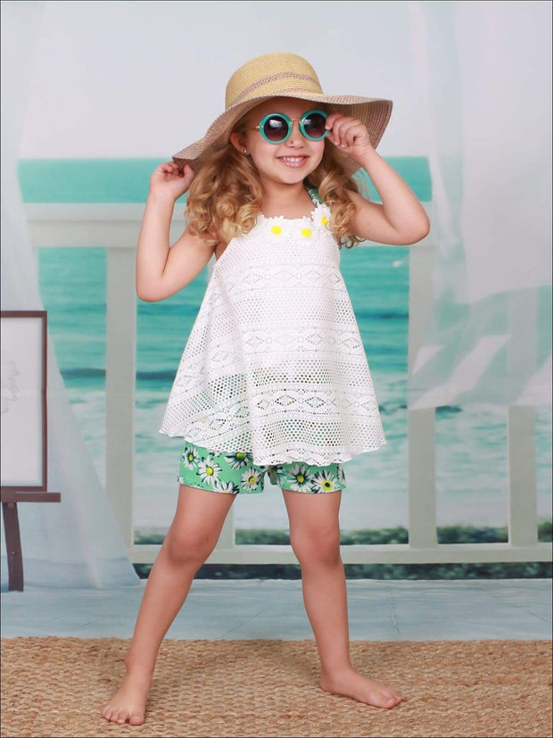 Girls Sleeveless Lace Trimmed Swing Top & Bow Shorts Set - Girls Spring Casual Set