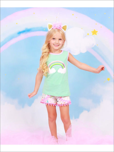 Girls Sleeveless Gold Glittered Rainbow Top with Unicorn Print Pom Pom Shorts Set - Girls Spring Casual Set