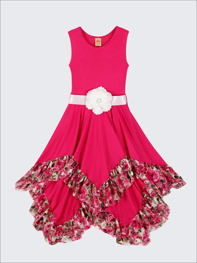 Girls Sleeveless Handkerchief Double Layer Ruffled Hem Dress with Flower Sash - Fuchsia / 2T/3T - Girls Spring Dressy Dress