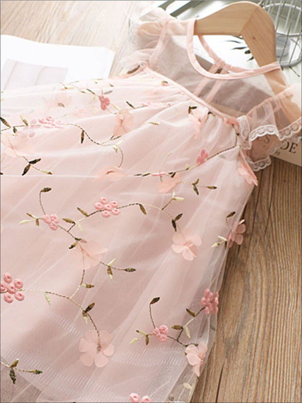 Girls Sleeveless Lace Flower Embroidered Dress - Girls Spring Casual Dress