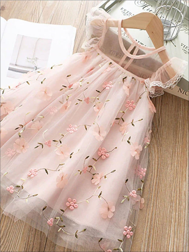 Girls Sleeveless Lace Flower Embroidered Dress - Pink / 8Y - Girls Spring Casual Dress