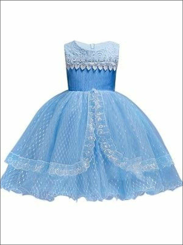 Girls Sleeveless Lace Tiered Special Occasion Dress - Girls Spring Dressy Dresses