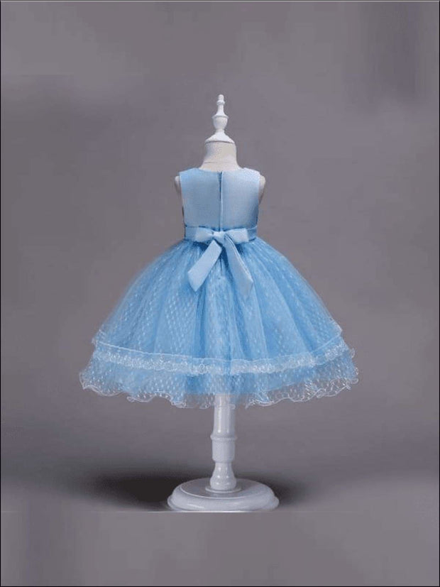 Girls Sleeveless Lace Tiered Special Occasion Dress - skyblue / 3T - Girls Spring Dressy Dresses