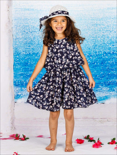 Girls Sleeveless Navy Floral Print Tiered Dress with Matching Hat - Girls Spring Casual Dress