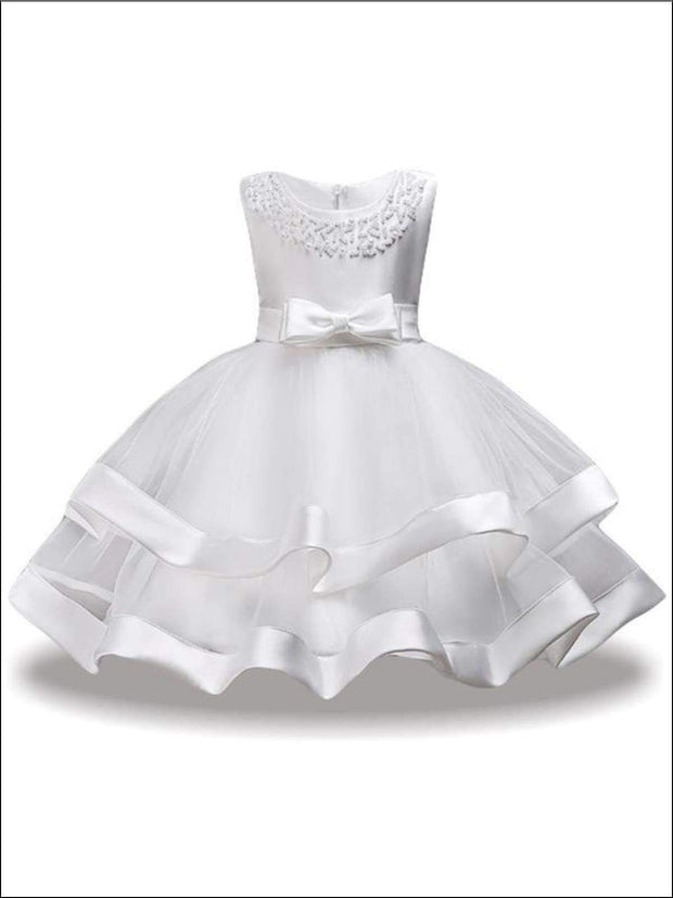Girls Sleeveless Pearl Embellished Flower Girl Dress - white / 3T - Dressy Spring Dress