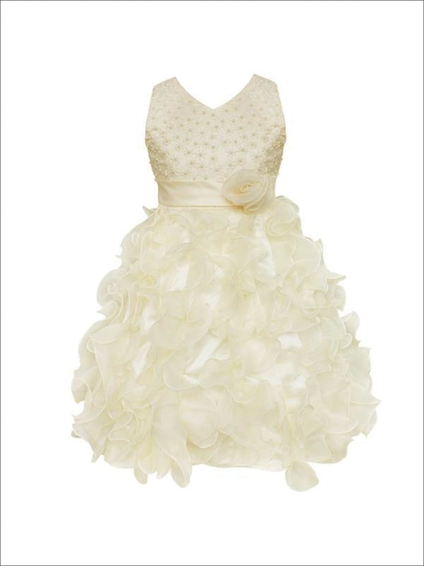 Girls Sleeveless Pearl Ruffled Communion Flower Girl & Special Occasion Dress - Champagne / 3T - Girls Spring Dressy Dress
