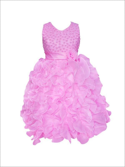 Girls Sleeveless Pearl Ruffled Communion Flower Girl & Special Occasion Dress - Pink / 3T - Girls Spring Dressy Dress