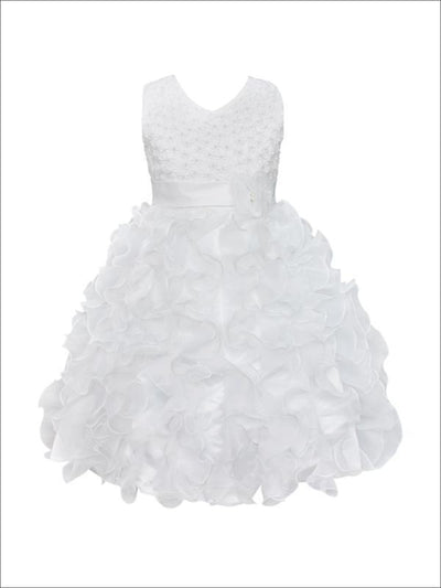 Girls Sleeveless Pearl Ruffled Communion Flower Girl & Special Occasion Dress - White / 3T - Girls Spring Dressy Dress