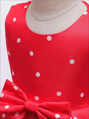 Girls Sleeveless Polka Dot Hi-Low Princess Holiday Dress - Girls Fall Dressy Dress