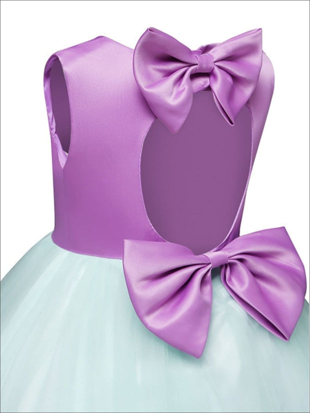 Girls Sleeveless Purple Embroidered Bow Tie Tulle Cupcake Dress - Girls Spring Dressy Dress