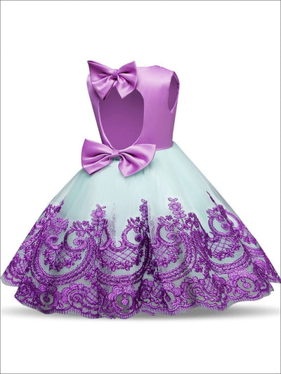 Girls Sleeveless Purple Embroidered Bow Tie Tulle Cupcake Dress - Purple / 24M - Girls Spring Dressy Dress