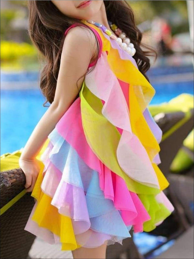 Girls Sleeveless Rainbow Cascading Ruffle Dress with Matching Necklace - Girls Spring Dressy Dress