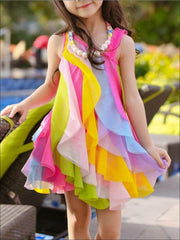 Girls Sleeveless Rainbow Cascading Ruffle Dress with Matching Necklace - Hot Pink w/ Necklace / 3T - Girls Spring Dressy Dress