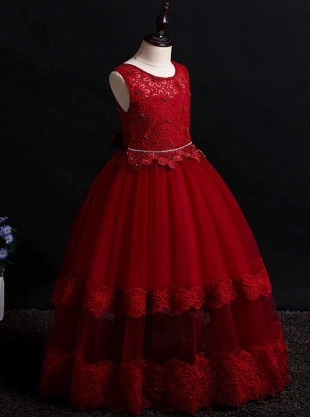 Girls Sleeveless Red Floral Lace Holiday Maxi Dress - Girls Fall Dressy Dress