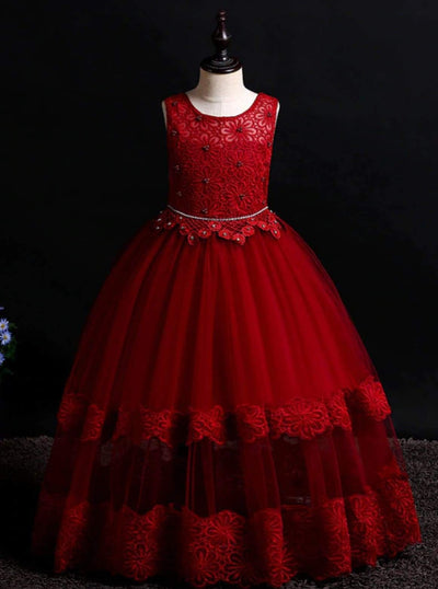 Girls Sleeveless Red Floral Lace Holiday Maxi Dress - Red / 5Y - Girls Fall Dressy Dress