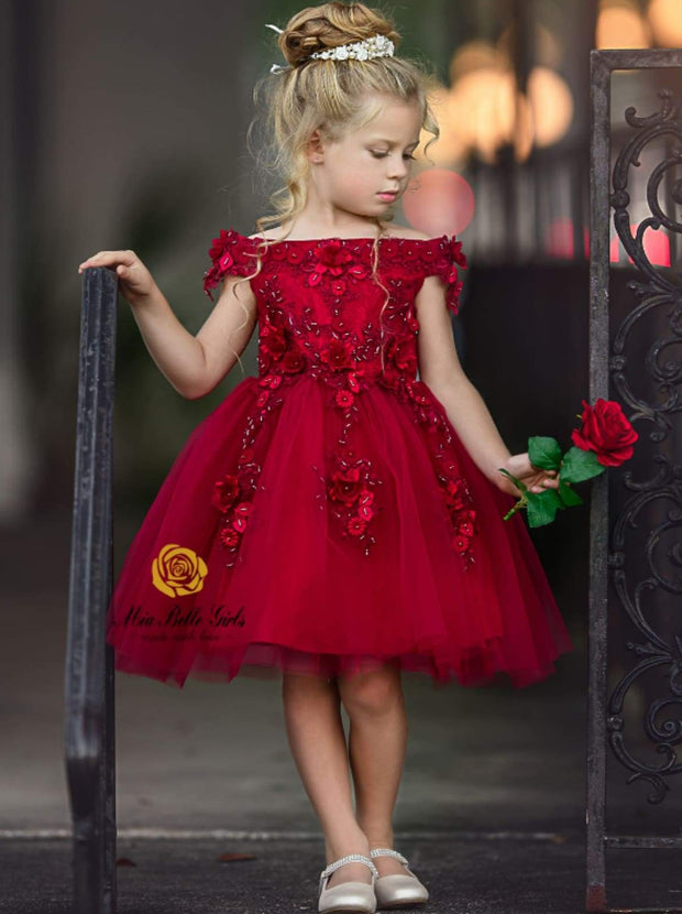 Girls Sleeveless Red Off Shoulder Floral Applique Holiday Special Occasion Dress - Red / 12M - Girls Fall Dressy Dress