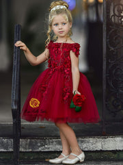 Girls Sleeveless Red Off Shoulder Floral Applique Holiday Special Occasion Dress - Girls Fall Dressy Dress