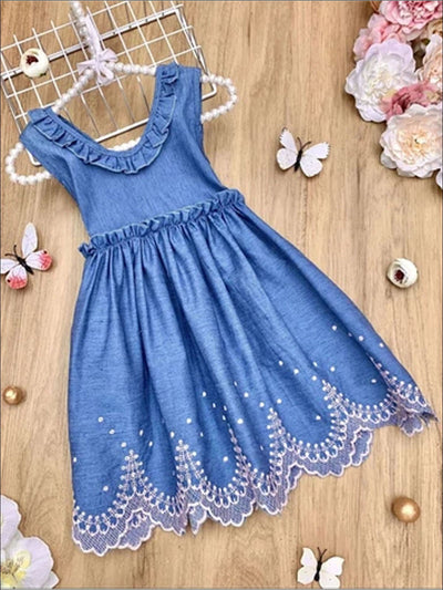 Girls Sleeveless Ruffled Denim Dress with Pink Embroidery - 2T - Girls Spring Casual Dress