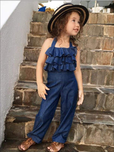 Girls Sleeveless Ruffled Denim Jumpsuit - Girls Jumpsuit