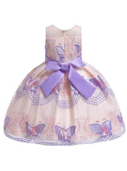 Girls Sleeveless Spring Butterfly Embroidered Special Occasion Dress - Girls Spring Dressy Dress