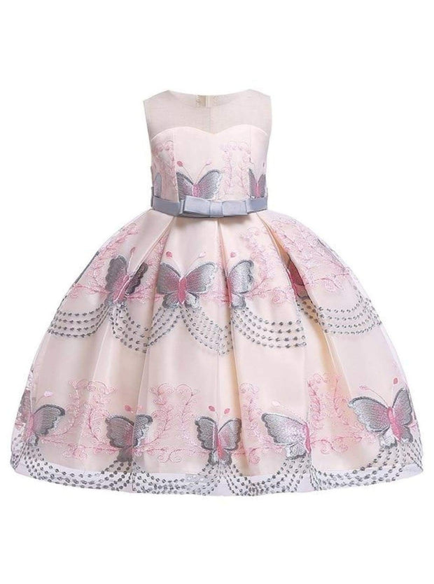 Girls Sleeveless Spring Butterfly Embroidered Special Occasion Dress - Gray / 3T - Girls Spring Dressy Dress