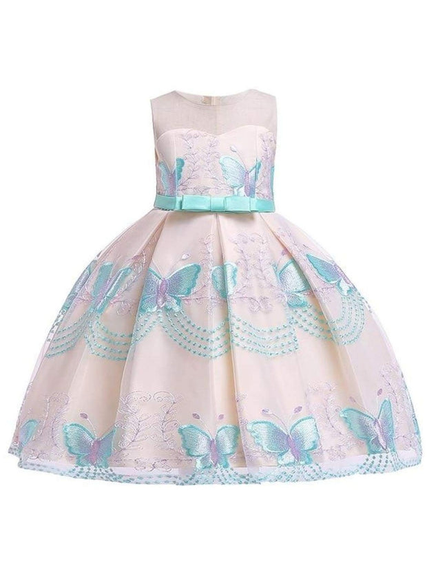 Girls Sleeveless Spring Butterfly Embroidered Special Occasion Dress - Green / 3T - Girls Spring Dressy Dress