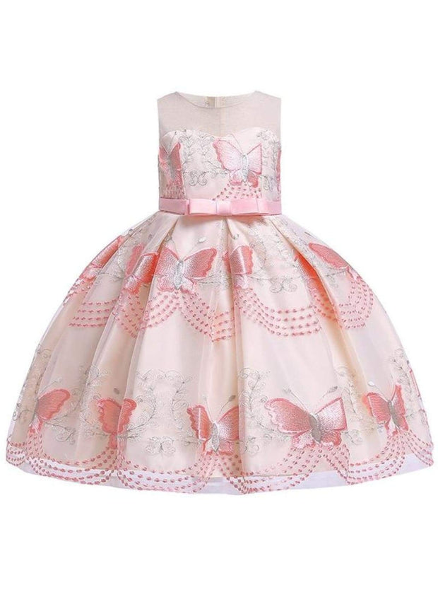 Girls Sleeveless Spring Butterfly Embroidered Special Occasion Dress - Pink14 / 3T - Girls Spring Dressy Dress