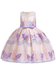 Girls Sleeveless Spring Butterfly Embroidered Special Occasion Dress - Purple / 3T - Girls Spring Dressy Dress
