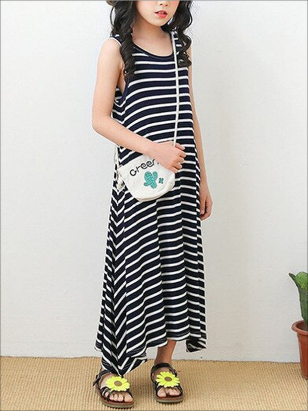 Girls Sleeveless Spring Dress - Black Stripe / 5 - Girls Spring Casual Dress