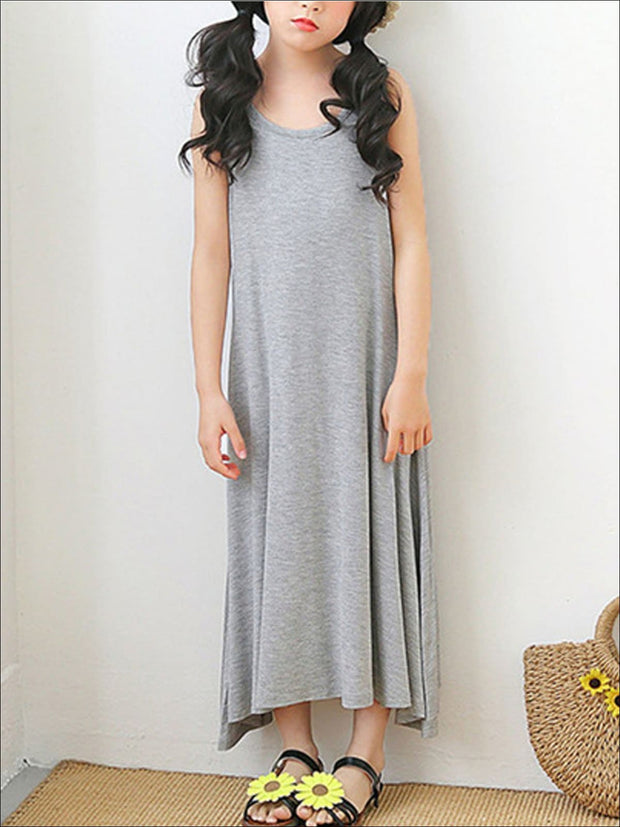 Girls Sleeveless Spring Dress - Gray / 5 - Girls Spring Casual Dress