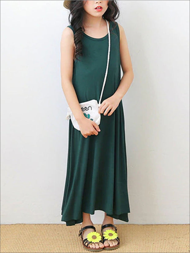 Girls Sleeveless Spring Dress - Green / 5 - Girls Spring Casual Dress